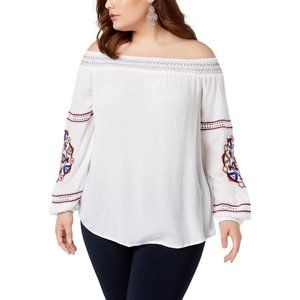 INC Off the Shoulder Embroidered Blouse